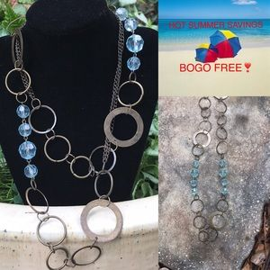Jewelry - 🏖Brass Metal & Clear Aqua Blue Beaded Necklace🏖
